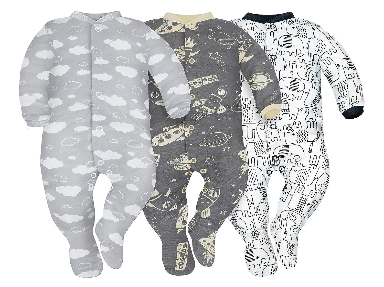 12-18 monate SIBINULO Jungen M/ädchen Schlafstrampler mit ABS 3er pack Wolken Kosmos und schwarze Elefanten 86