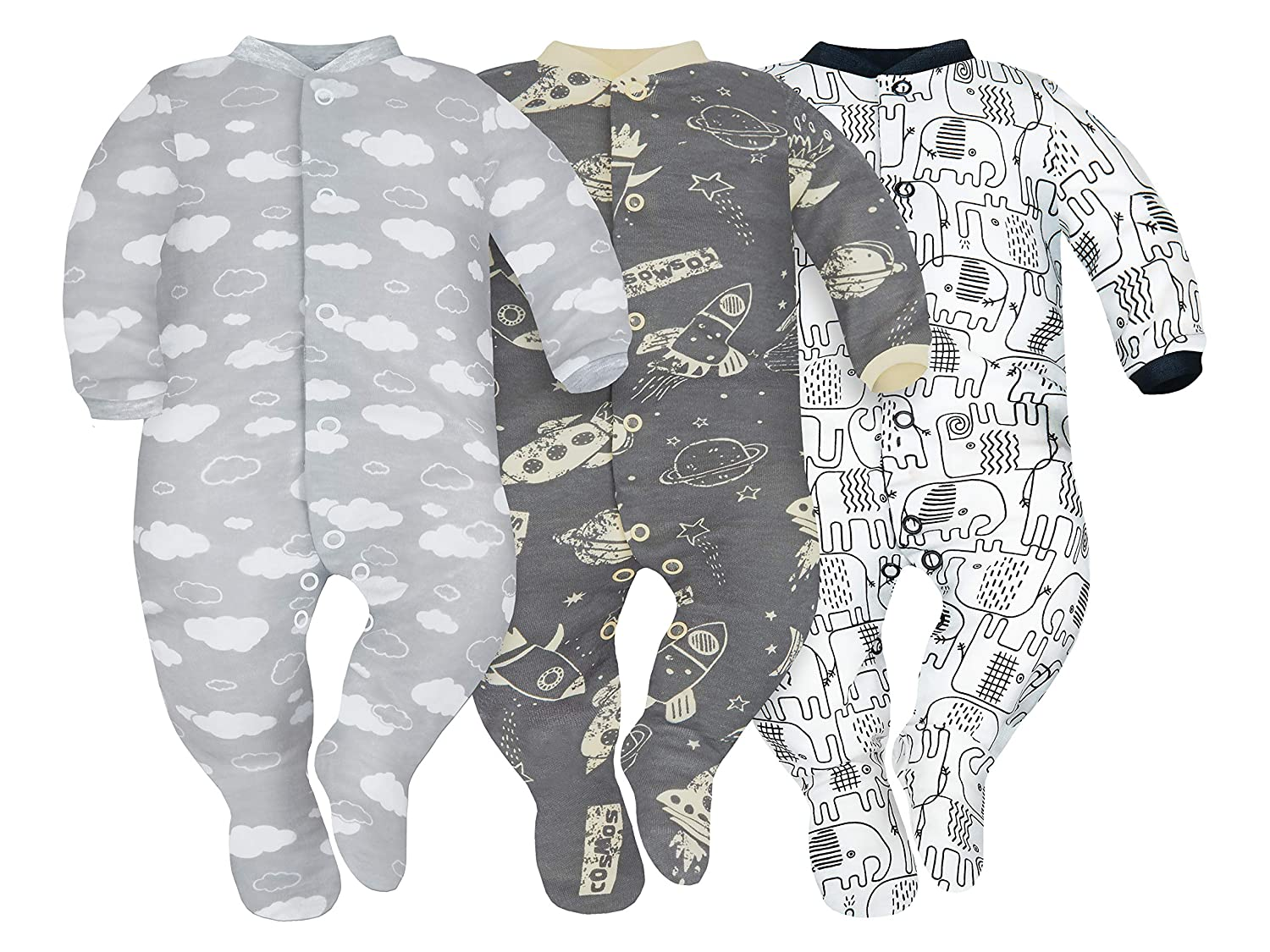 SIBINULO Baby Boys Baby Girls Sleepsuit with ABS Mix Pack of 3