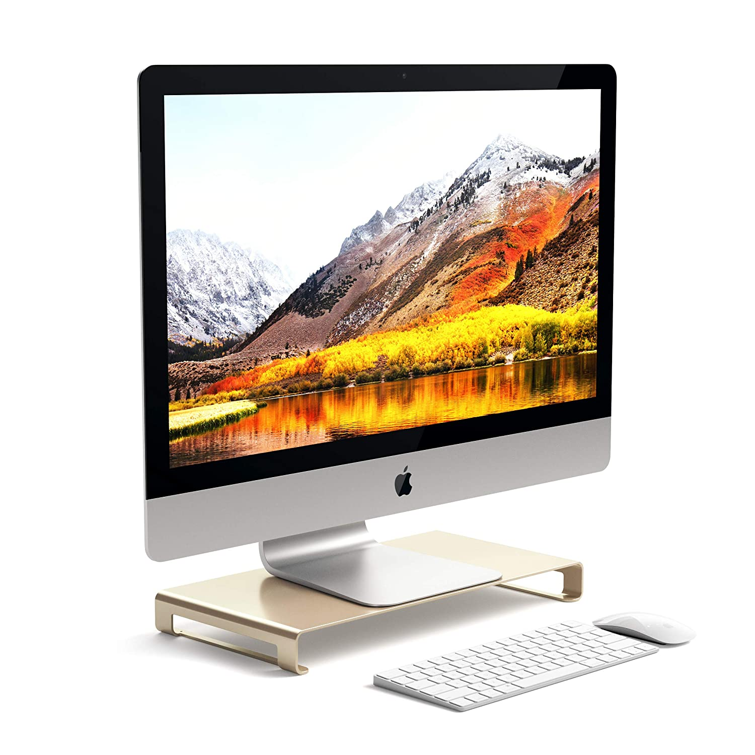 Satechi Aluminum Universal Unibody Monitor Stand - Compatible with 2017 MacBook Pro, iMac Pro, Google Chromebook, Microsoft Surface, Dell, Asus and more (Gold) ST-ASMSG
