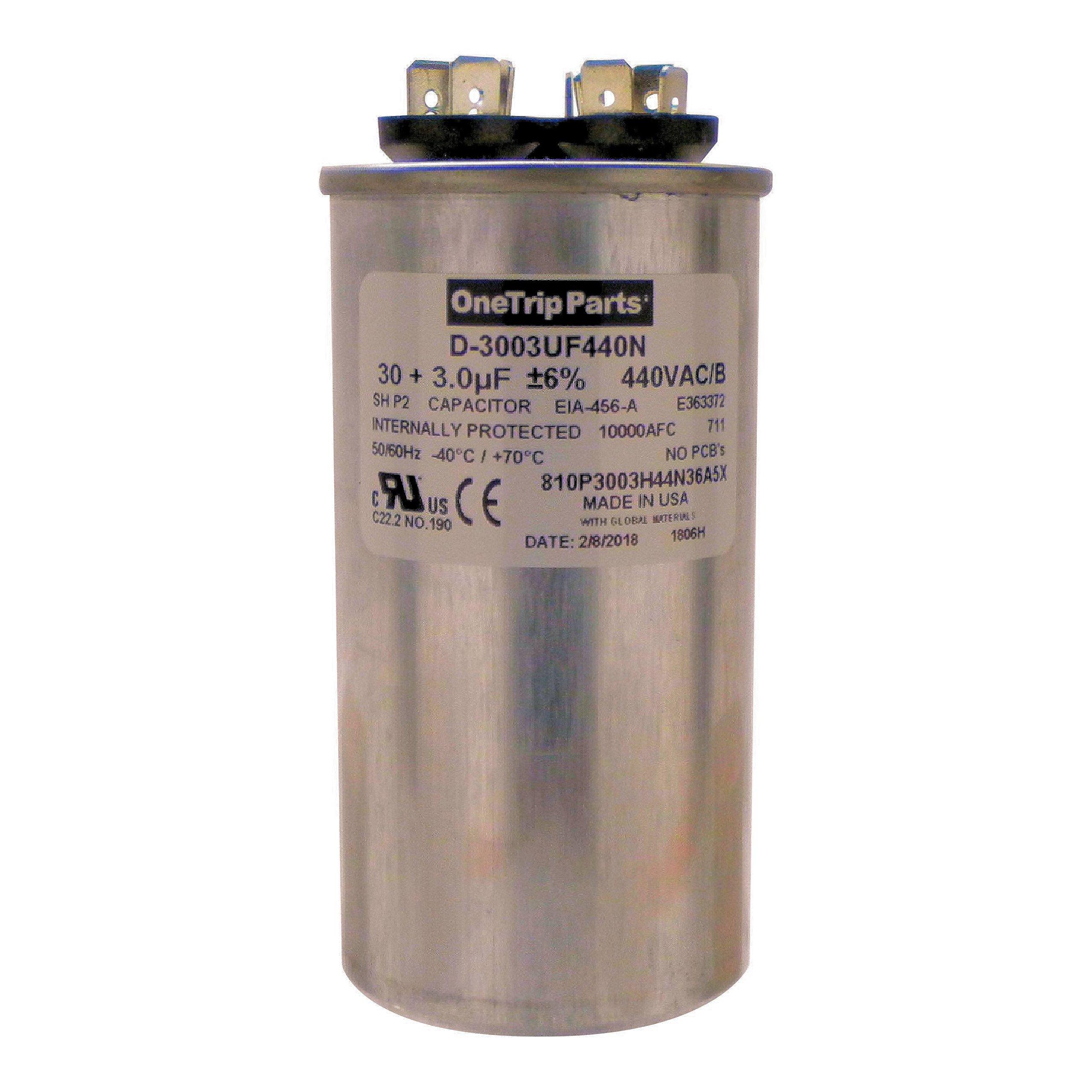 OneTrip Parts USA Run Capacitor 30+3 UF 30/3 MFD 370 VAC / 440 VAC 2'' Round Heavy Duty