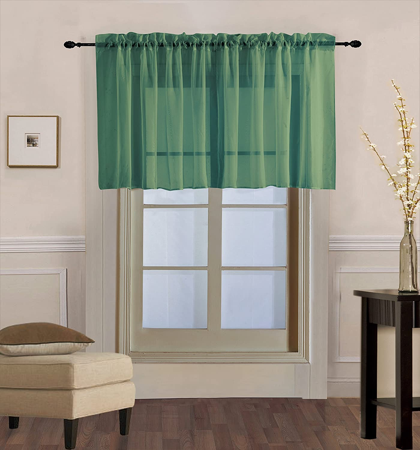 "GorgeousHomeLinen (V16) 1 Elegant Straight Sheer Rod Pocket Swag Waterfall Valance, 55"" X 18"" Inch (Hunter Green)"