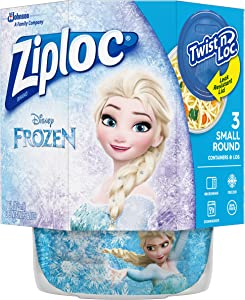 Ziploc Food Storage Meal Prep Containers, Small, 16 Oz, 3 Count, Twist N Loc- Featuring Disney Frozen Design