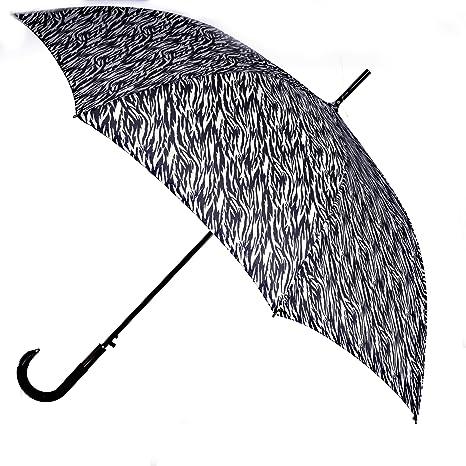 Vogue – Paraguas automático, Animal Print Toldo con detalle en cromo Mango, revestimiento de