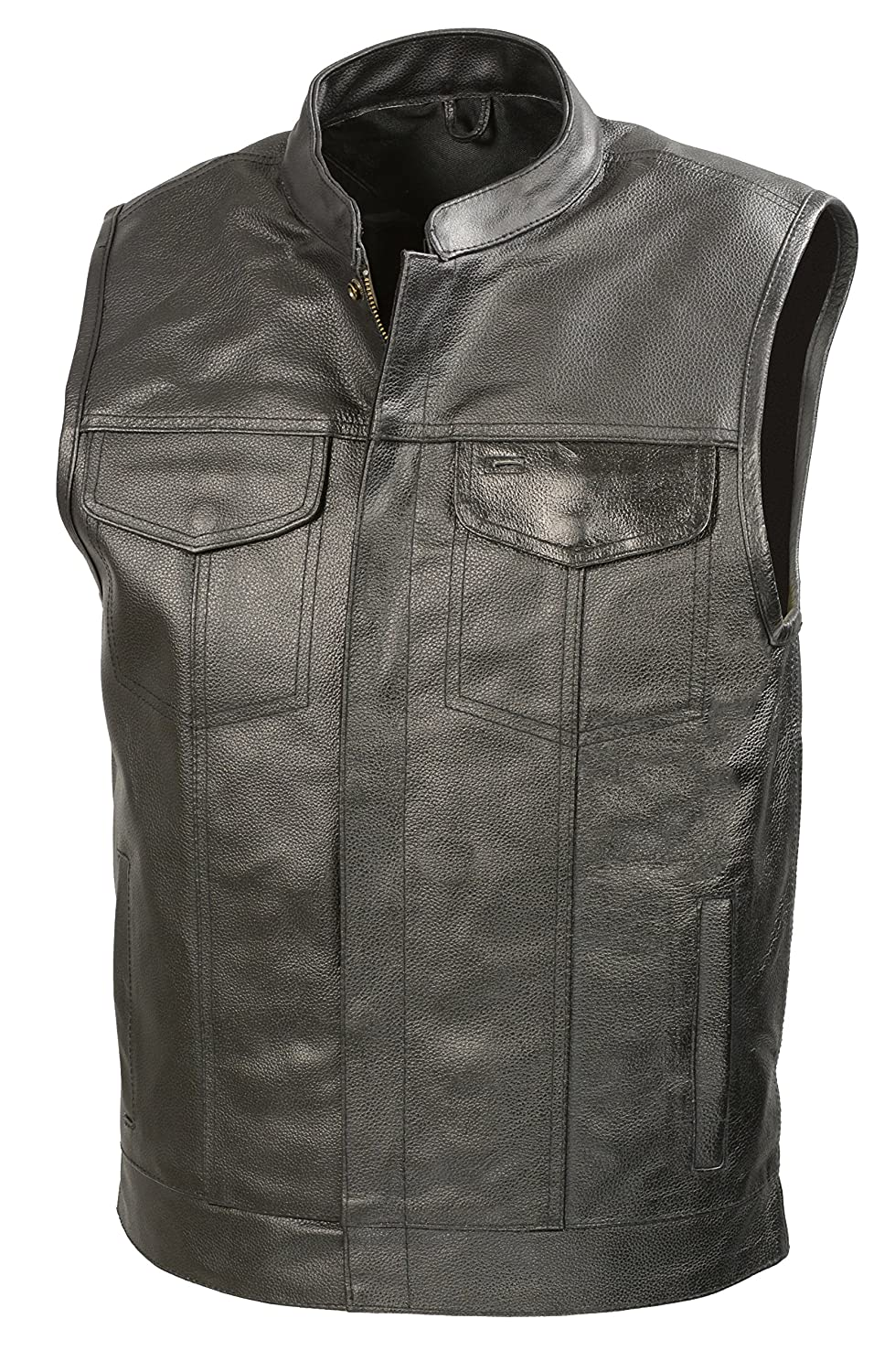 The Bikers Zone SOA Mens Leather Vest W/ Concealed Gun Pockets