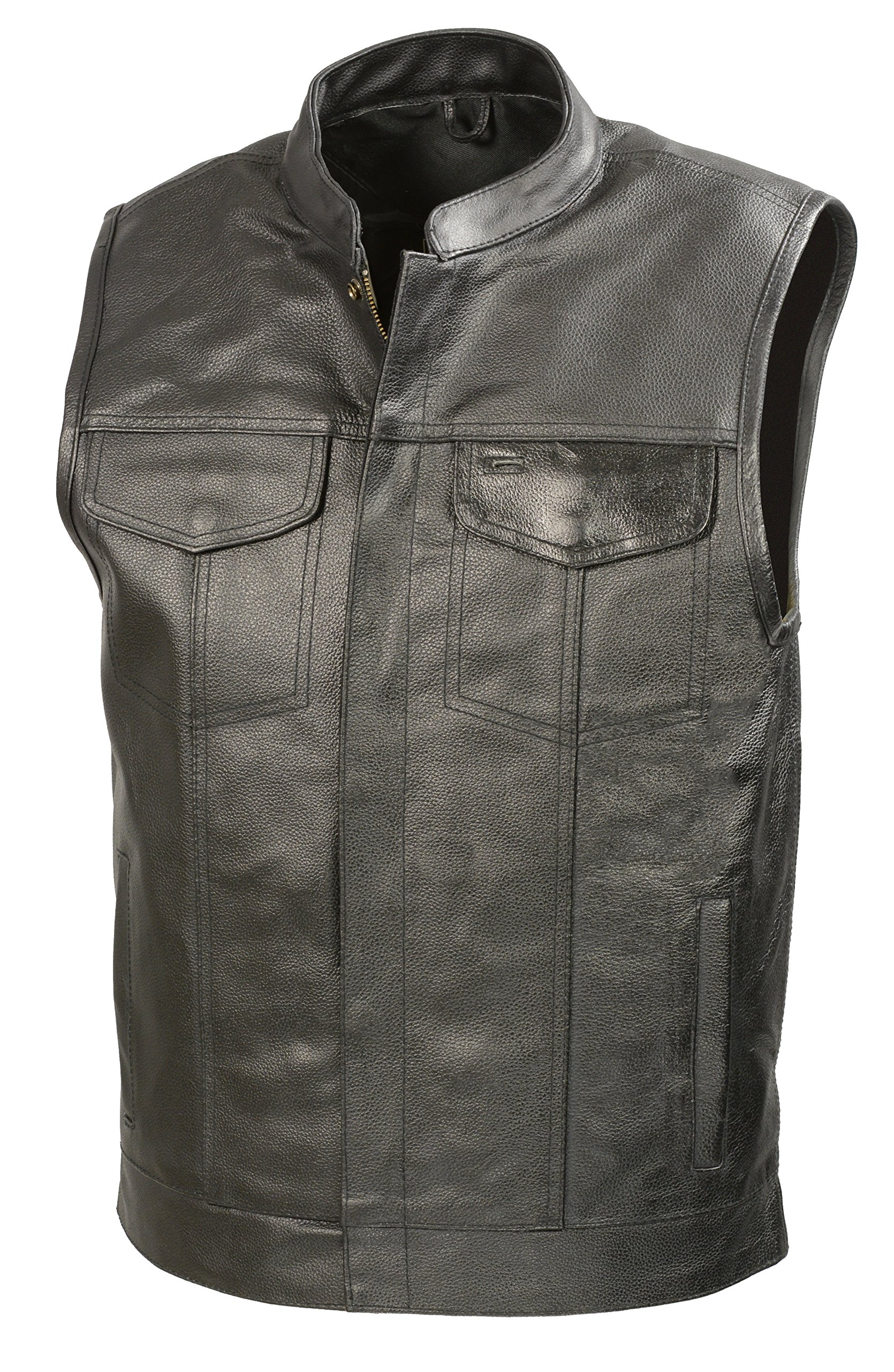 SOA Mens Leather Club Style Vest W/Gun Pockets, Leather Biker Vest (Black, 2X)