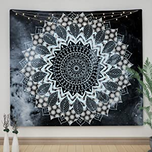 """Ovenbird Blue Mandala Tapestry, Hippie Bohemian Tapestry Wall Hanging, Aesthetic Tapestry Blue and Grey, Home Decor Wall Tapestry for Bedroom, Dorm, Room Decor, 51"""" X 59"""""""