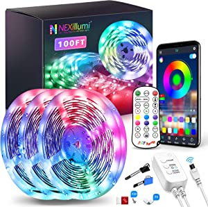 100Ft Waterproof LED Strip Lights with Remote, 900 LEDs SMD 5050 Color Changing Music Sync App Control LED Lights for Bedroom, Living Room, Dorms, Room Decor, Christmas (LED Strip Lights 32.8ft x 3)