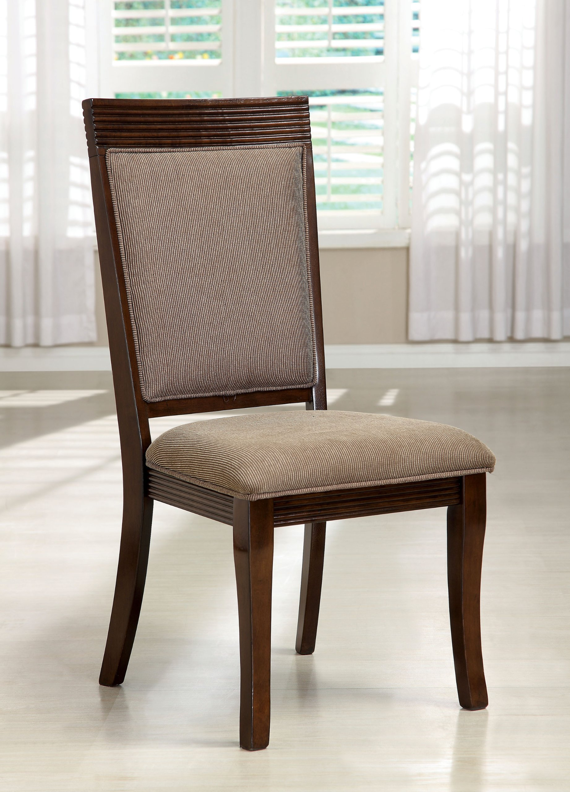 Furniture of America Aiken Formal Padded Fabric Side Chair, Walnut Finish, Set of 2 by Furniture of America (Image #2)