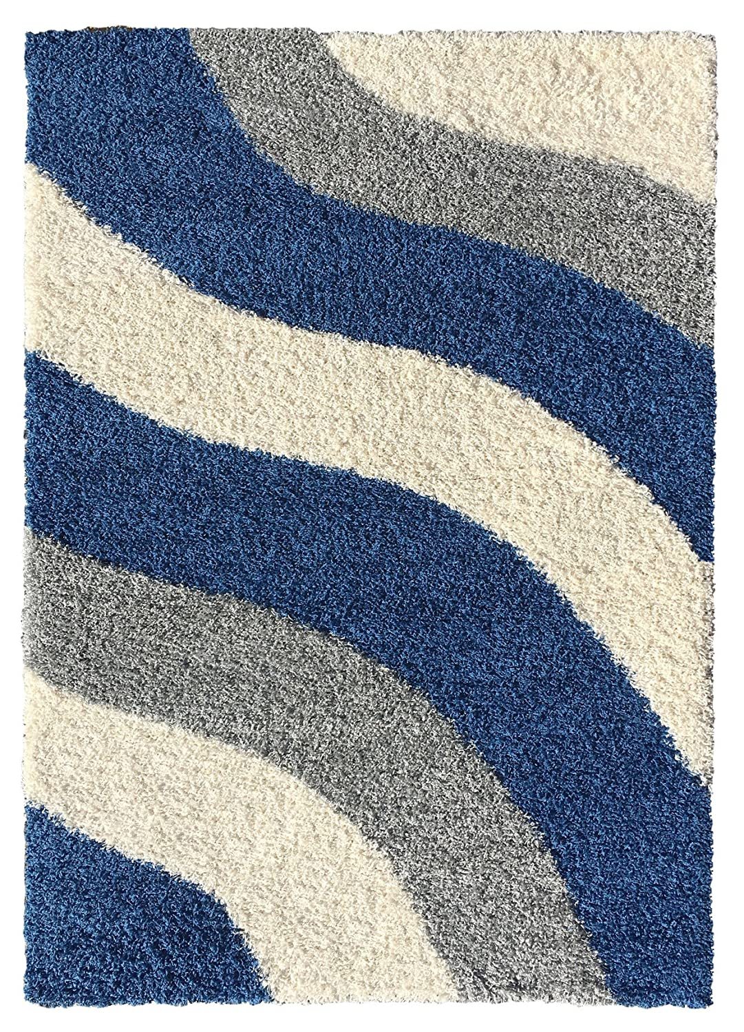 Amazon.com: Soft Shag Area Rug 3x5 Geometric Striped Ivory Blue Grey Shaggy  Rug   Contemporary Area Rugs For Living Room Bedroom Kitchen Decorative  Modern ...