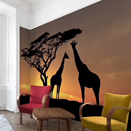 Non woven Wallpaper African Sunset Mural Wide wallpaper wall