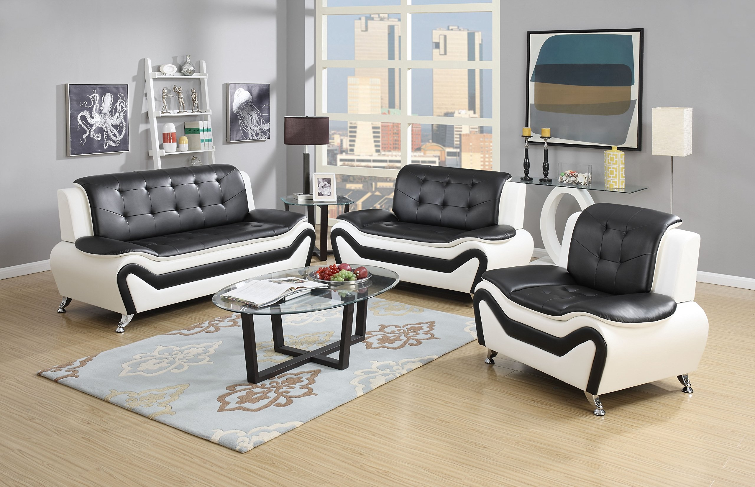 US Pride Furniture 3 Piece Modern Bonded Leather Sofa Set with Sofa, Loveseat, and Chair, White/Black by US Pride Furniture