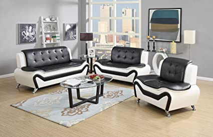 Attrayant US Pride Furniture 3 Piece Modern Bonded Leather Sofa Set With Sofa,  Loveseat, And