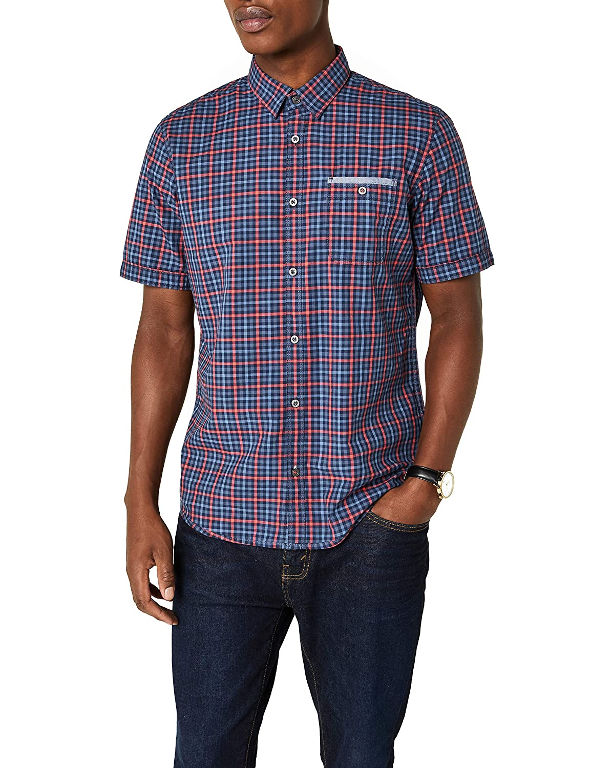 TALLA M. Tom Tailor Ray Slub Check Package Camisa para Hombre