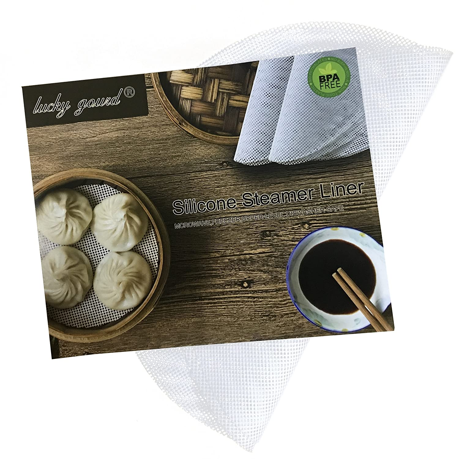 Lucky Gourd Reusable Non-Stick Silicone Steamer Pad Mesh Round Dumplings Mat,Pack of 4 (7 Inch)