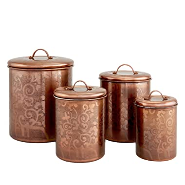 Old Dutch 4 Pc. Avignon  Etched Canister Set, 4 Qt, 2 Qt, 11/2 Qt, 1 Qt, (L), Antique Copper (1392CU)