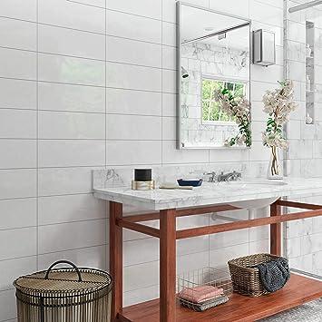 Amazon Com Matte Ceramic Wall Tile 6x16 In Sail White Rectangle Home Kitchen