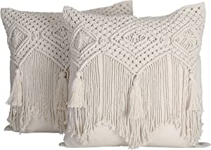 Folkulture Boho Throw Pillow Covers 18x18, Macrame Pillow Covers, Modern Farmhouse Bohemian Pillow Covers for Bed, Couch or Sofa, Set of 2 with Tassels, Natural