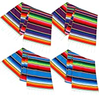 Aneco Mexican Table Runner Mexican Serape Blanket Cotton Colorful Fringe Table Runners for Mexican Party Wedding Kitchen Outdoor Decorations