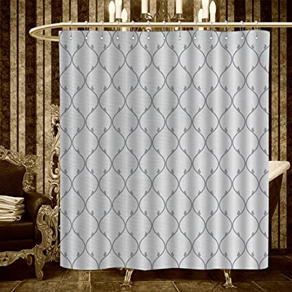 Longbuyer Geometric Shower Curtains Fabric Abstract Oriental Cultures Inspired Curved Lines Retro Japanese Ornamental Design Bathroom