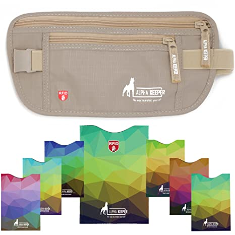 f280a80794d Alpha Keeper RFID Money Belt and RFID Blocking Sleeves Set Beige  Amazon.co.uk   Luggage