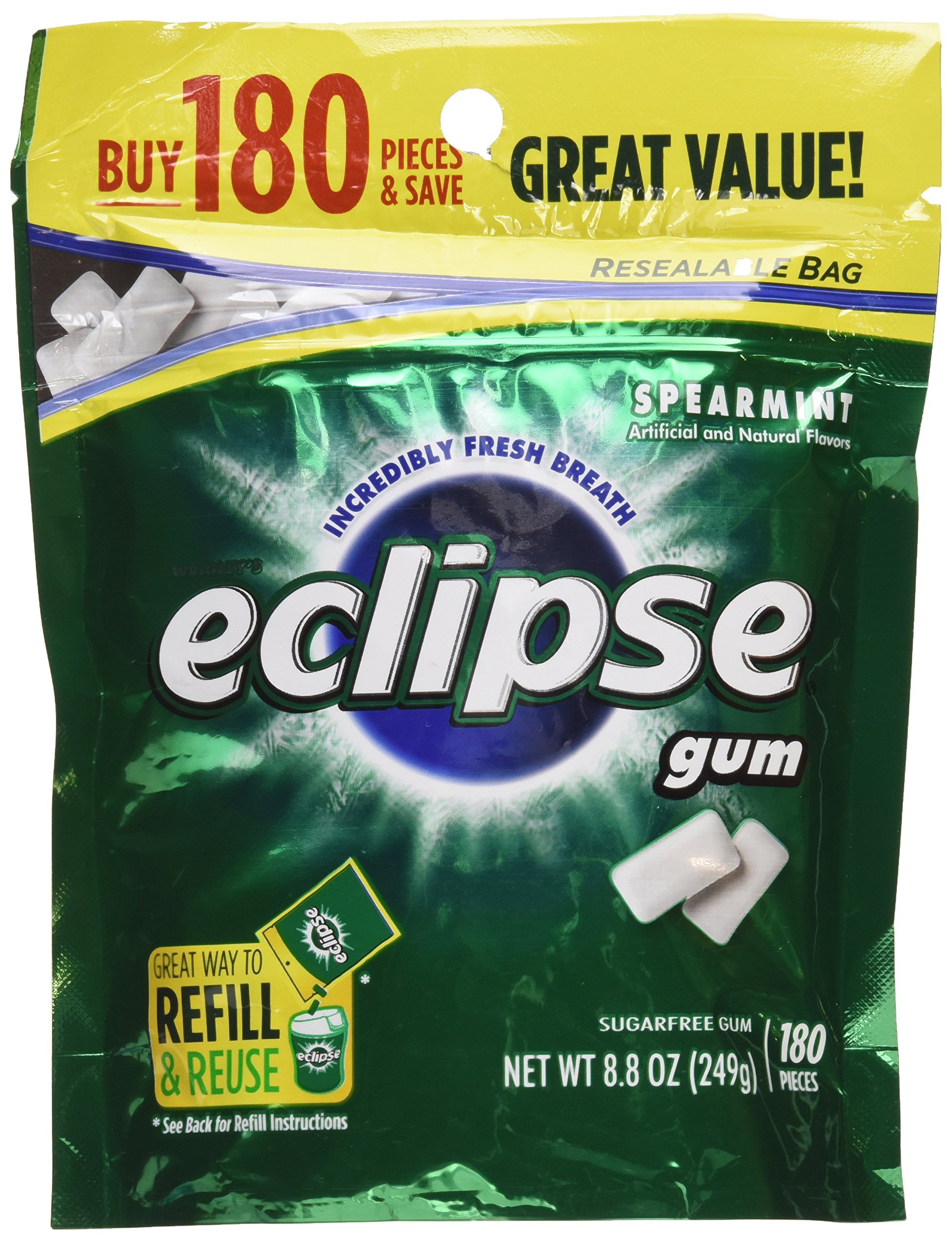 Eclipse Spearmint Sugarfree Gum Refill, 180 Pieces, 8.8 Oz (Pack of 2)