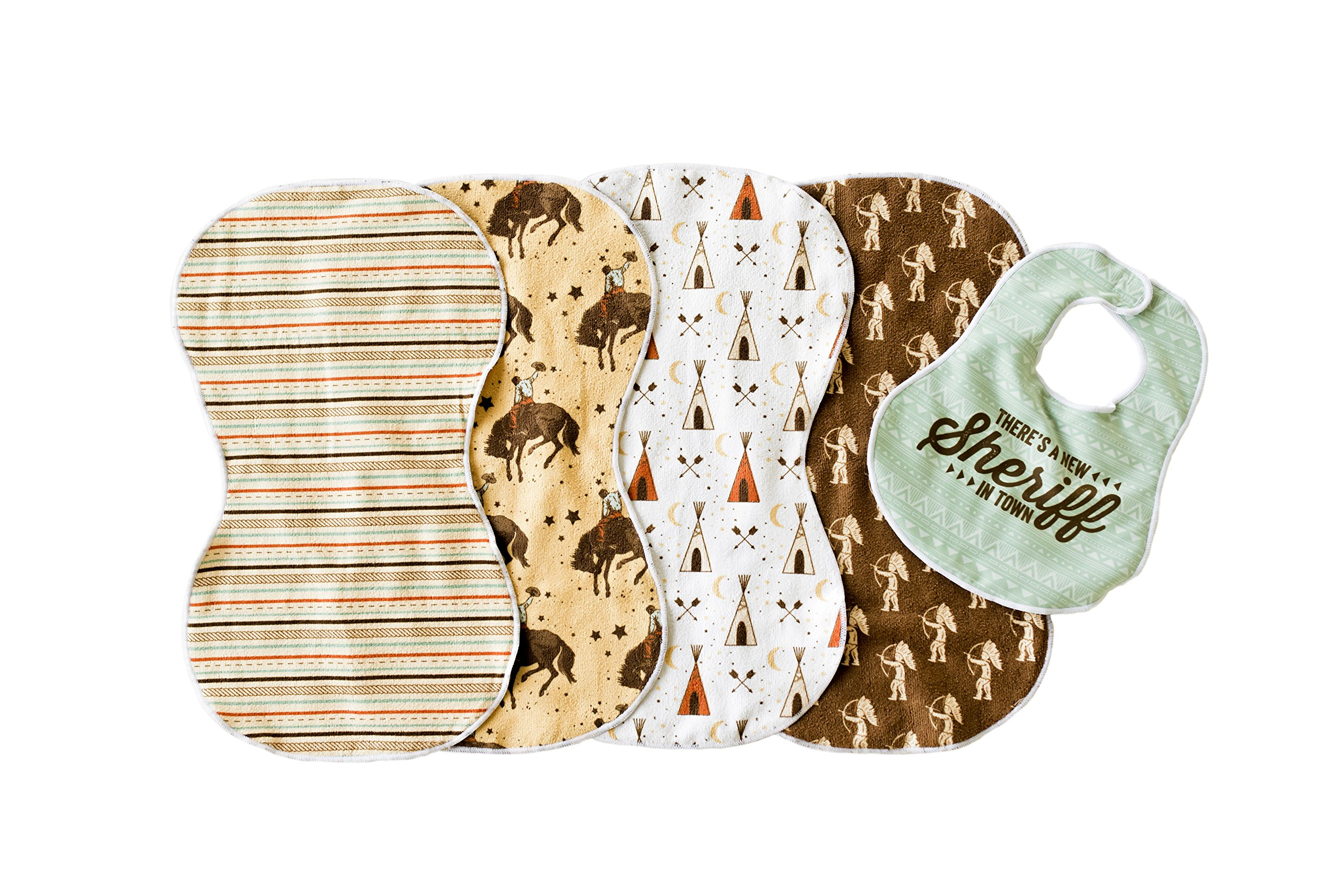 Imperfect Penelopy Wild West 5PK Burp Cloths for Boys- 4 Double Sided Microfiber Terry Burp Cloths and Matching Bib Set, Extra Large, For Newborns