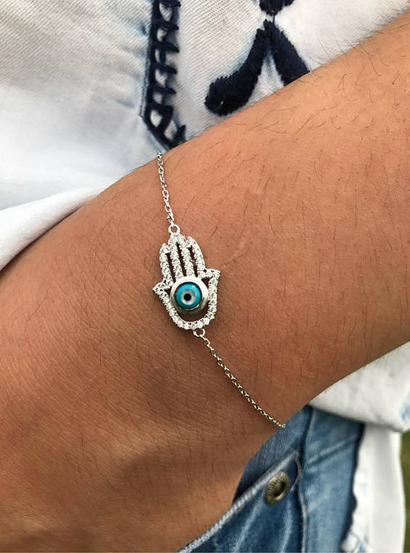 Sterling silver hamsa bracelet and silver evil eye bracelet delicate dainty hand of fatima bracelet womens