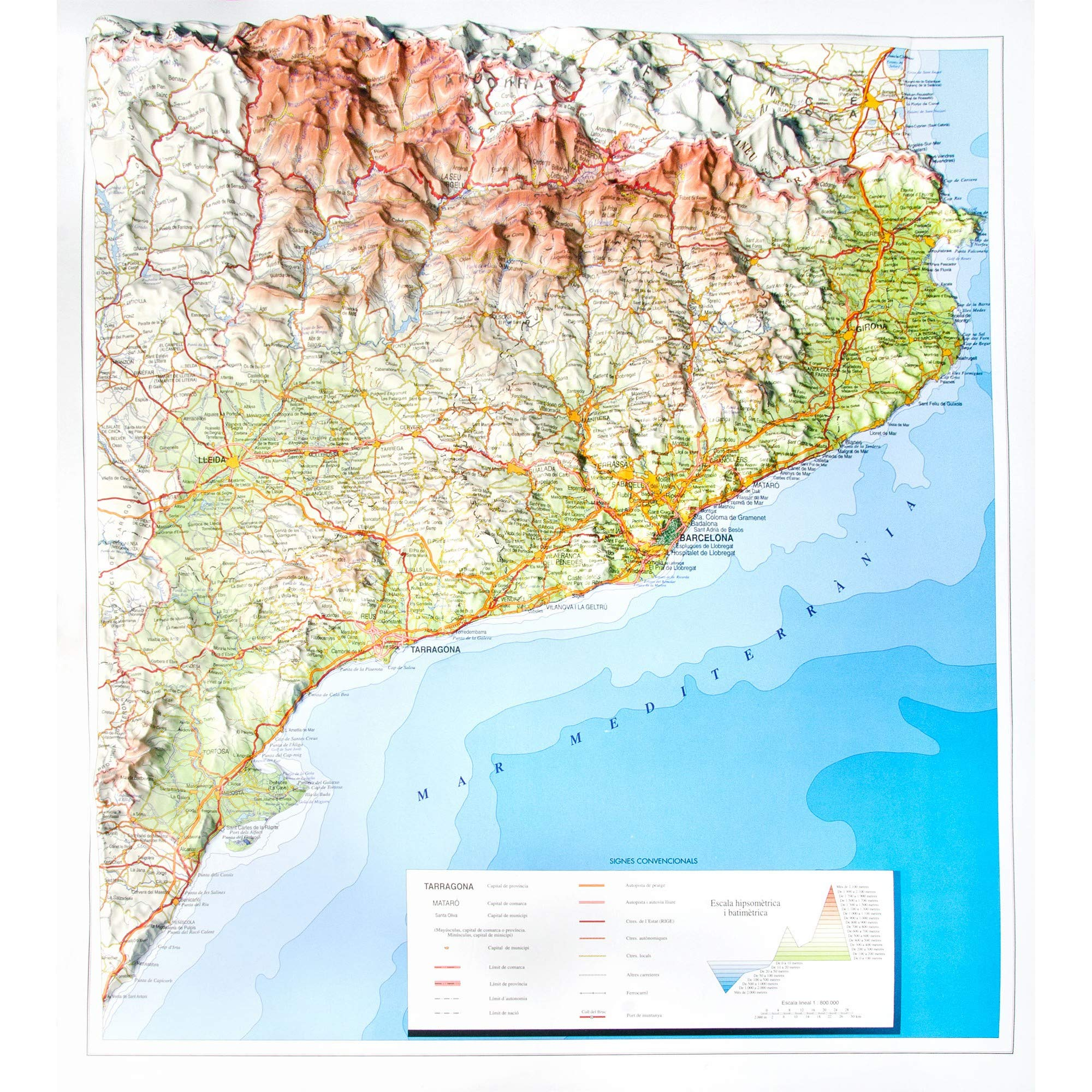 Mapa en relieve de Cataluña: Escala 1:800.000: Amazon.es: All 3D ...
