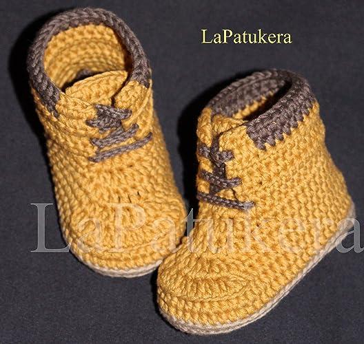 Babyschuhe Häkeln Unisex Stiefel Stil Panama Farbe Senffarbe Aus