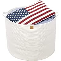 """Queen's Home XXXLarge Cotton Rope Basket 22""""x22""""x18"""" White Woven Round Basket with Handles Large Baby Nursery Organizer Storage Collapsible Laundry Basket for Kids Toy Towel Blanket Doll Ball Diaper"""