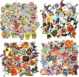 260 Pieces Mixed Halloween Themed Stickers Vinyl Stickers Trendy Laptop Stickers Waterproof Pumpkin Skull Stickers Aesthetic Decal for Scrapbooking Water Bottles Party Favors