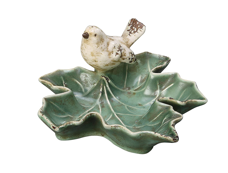 Creative Co-op Ceramic Leaf Dish with Bird, Green