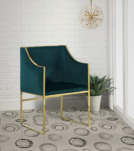 Iconic Home Rowan Modern Contemporary Steel Frame Velvet Accent Chair, Green