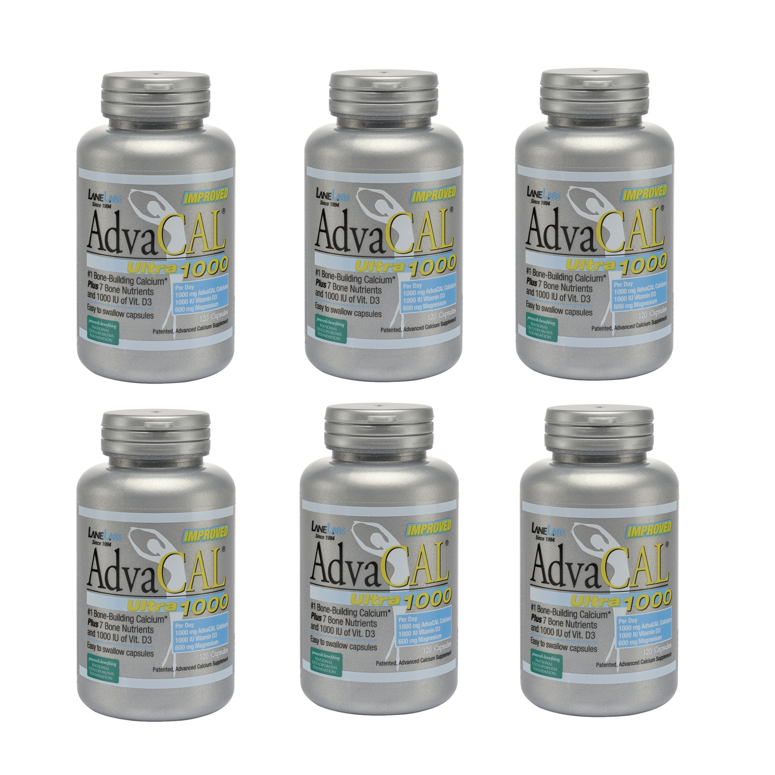 Lane Labs Advacal Ultra 1000 Calcium - 120 Capsules - Pack of 6 Bottles