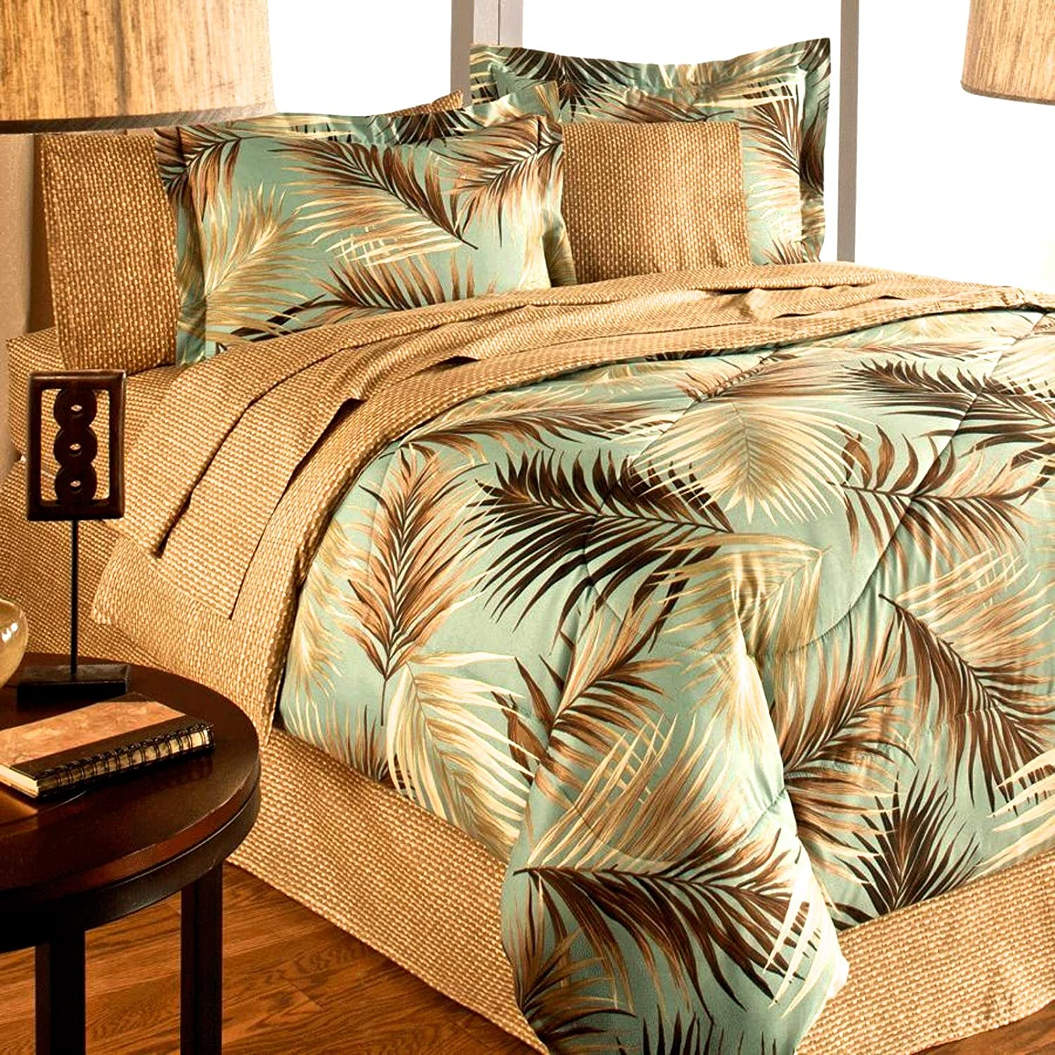 Lauren Cole Tropical Palm Tree Leaf/Leaves Ocean Beach Coastal Bedding Comforter Set Bed in a Bag (King Size)
