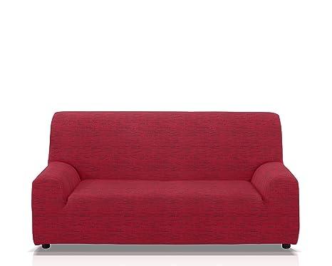 JM Textil Funda de sofá elástica 3 plazas Color Rojo Modelo ...