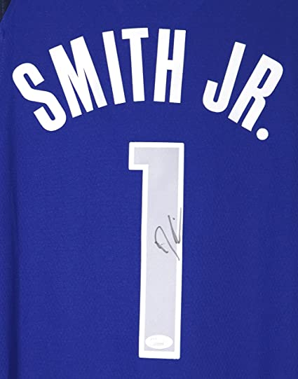 size 40 14a06 fc9cd Dennis Smith Jr. Dallas Mavericks Signed Autographed Blue #1 ...