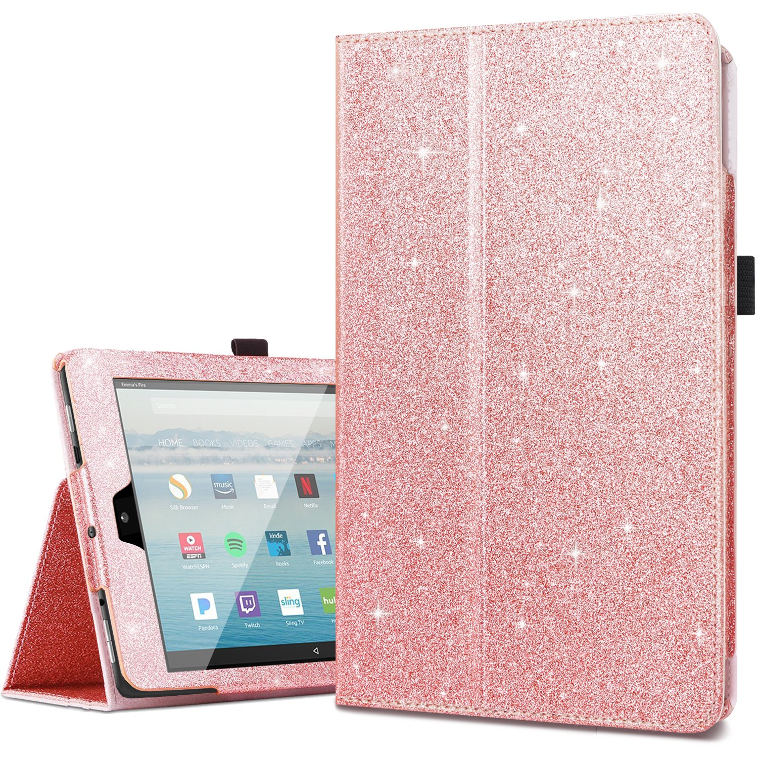 sports shoes e3cc0 27021 Amazon Fire HD 10 Case 2017,Kindle Fire HD10 2017 Cases,Fingic Luxury  Sparkly Folio Folding Stand Cover with Holder & Auto Wake/Sleep Smart Case  for ...
