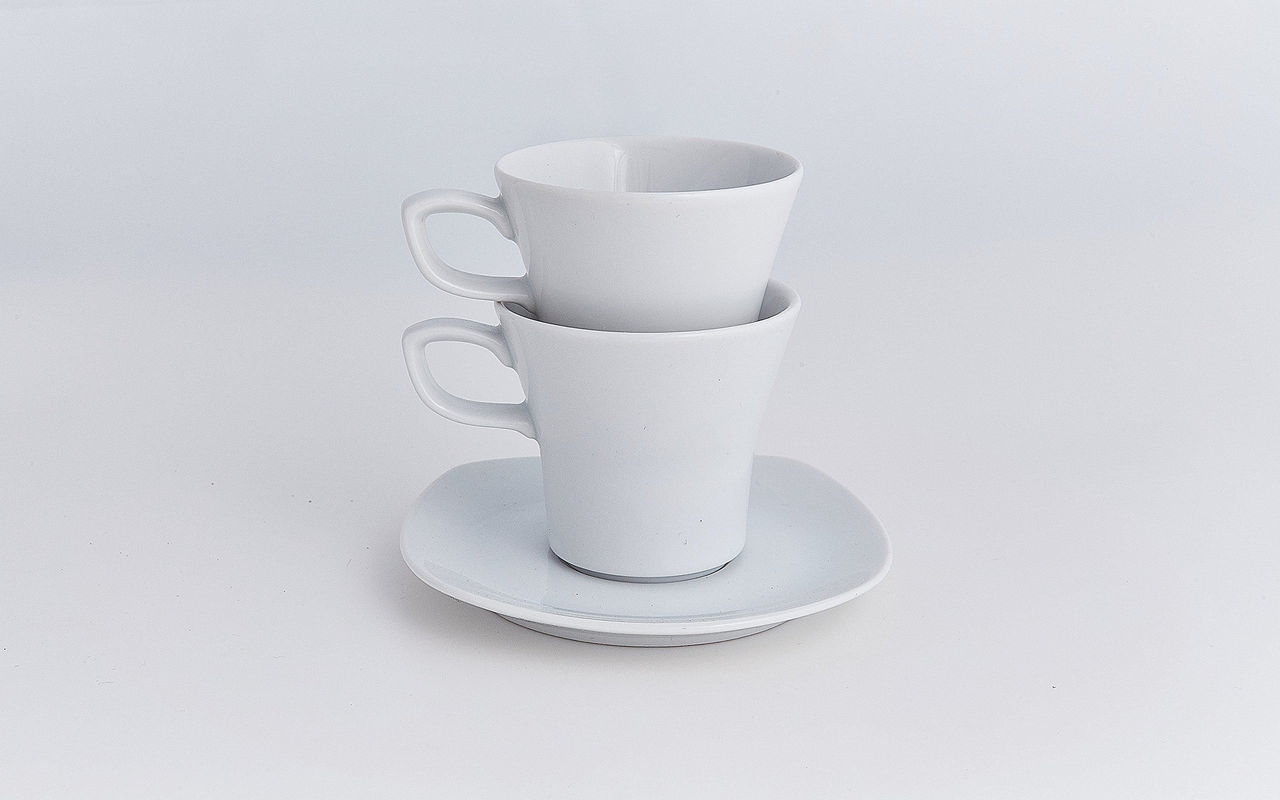 Moritz Zdekauer Square White Espresso Cup & Saucer 4.625'' / 4 oz. | Set of 6 by Moritz Zdekauer (Image #1)
