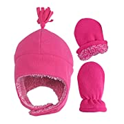 N'Ice Caps Little Girls and Baby Soft Sherpa Lined Micro Fleece Pilot Hat and Mitten Set (Fuchsia Infant 1, 6-18 Months)