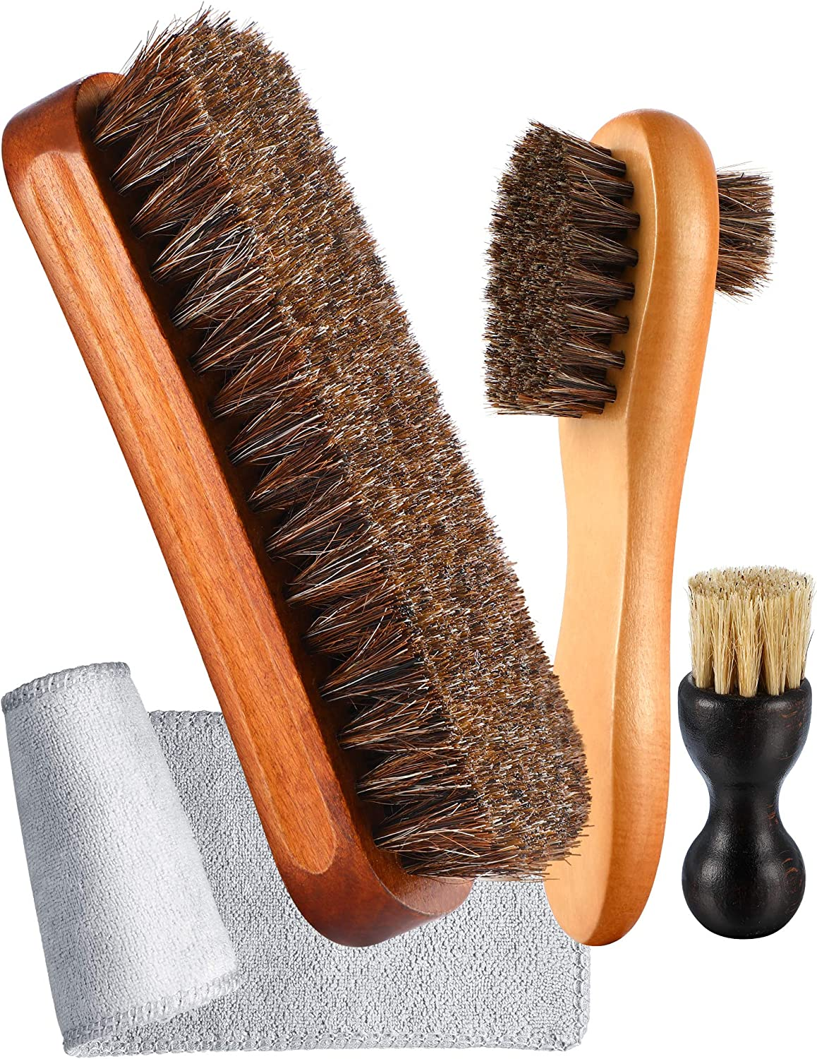 3 Pieces Horsehair Shoe Polishing Dauber Kit Shine Brush Shoe Care Applicators