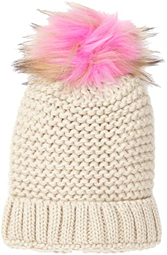 New Look Coloured Faux Fur Pom, Gorro de Punto para Mujer, Pink (Pink Niu), Talla única