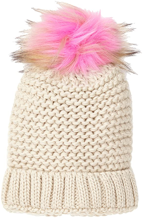 Womens Coloured Faux Fur Pom Beanie, Pink (Pink NIU), One Size (Manufacturer Size: 99) New Look