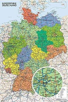 Close Up Póster Mapa Político de Alemania - Deutschland Landkarte (61cm x 91,5cm) + 1 póster Sorpresa de Regalo: Amazon.es: Hogar