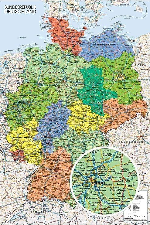 Póster Mapa Político de Alemania - Deutschland Landkarte (61cm x 91,5cm) + 1 Póster con Motivo de Paraiso Playero: Amazon.es: Hogar