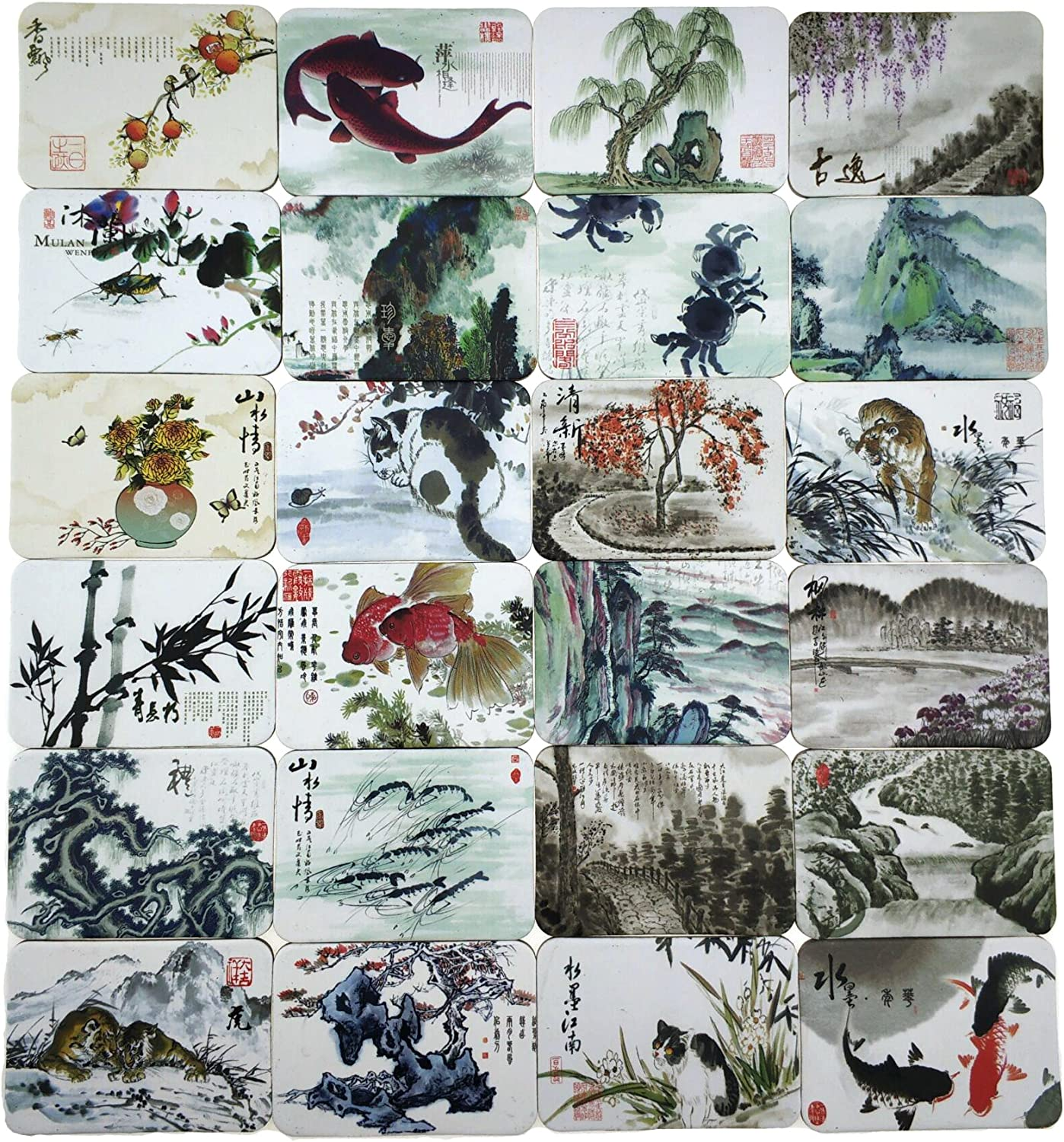 MISWEE 24-pcs Magnetic Fridge Magnets Refrigerator Sticker Scenery Home Decoration Animal Classic cars Accessories Magnetic Paste Arts/Crafts (Chinese ink painting)