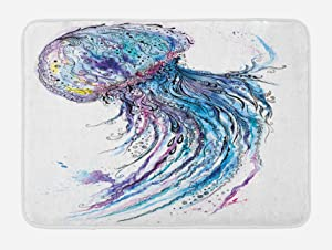 "Ambesonne Jellyfish Bath Mat, Aqua Colors Art Ocean Animal Print Sketch Style Creative Sea Marine Theme, Plush Bathroom Decor Mat with Non Slip Backing, 29.5"" X 17.5"", Blue Purple"
