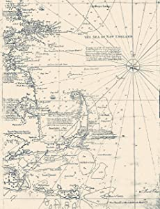 """Sea of New England - Cape Cod Map 1734 - Vintage Map Reproduction - Nautical Decor - Wall Art (13""""x19"""")"""