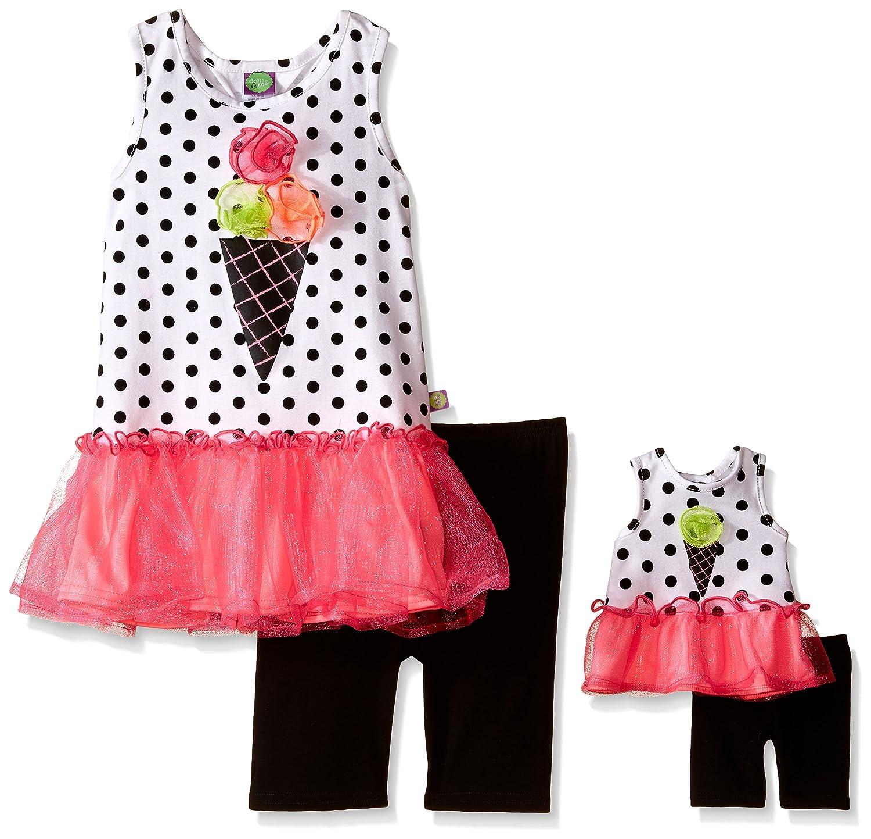 Dollie & Me Girls' Ice Cream Cone Knit Drop Waist Tutu Dress With Bike Short Set