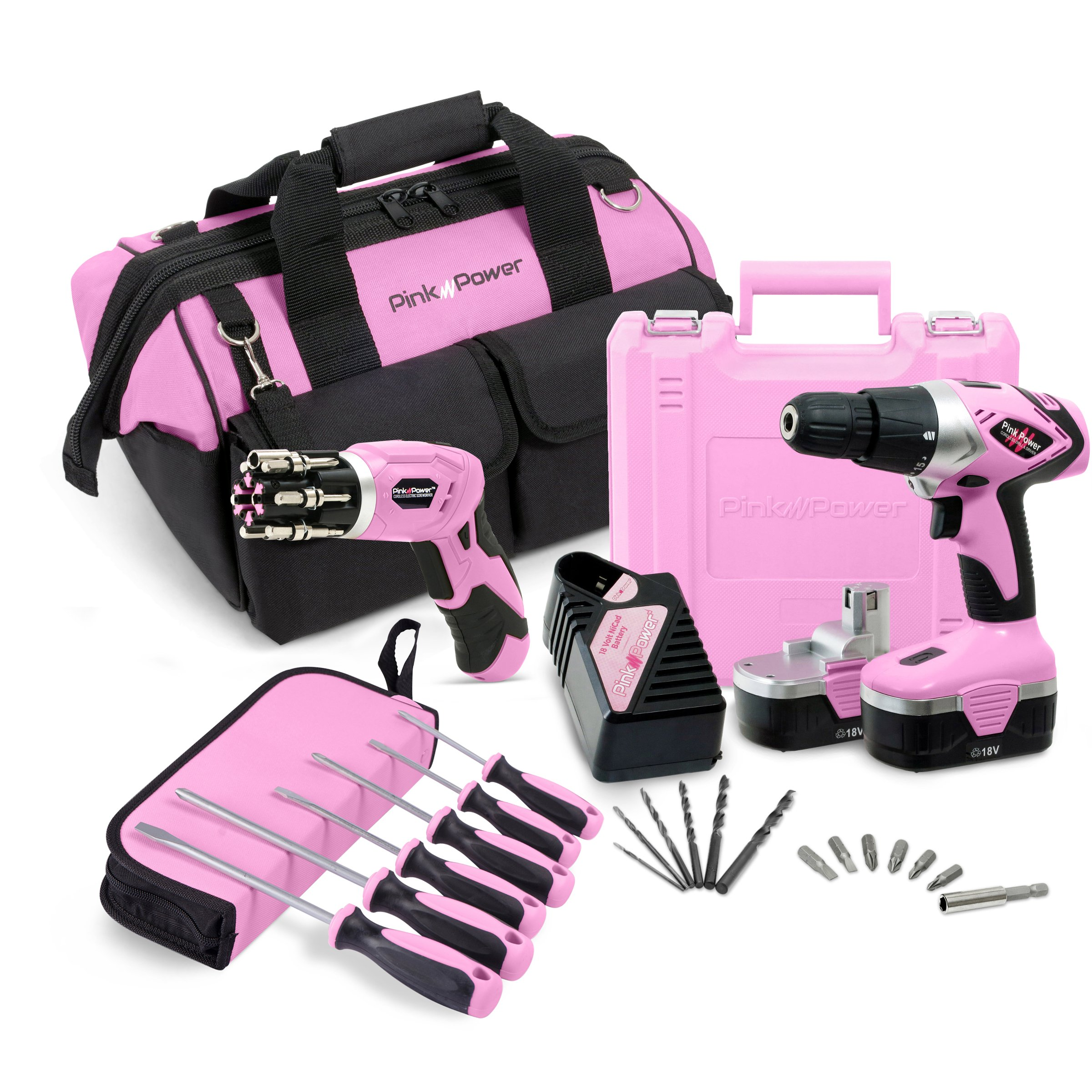 "Pink Power 18V Cordless Drill Driver & Electric Screwdriver Combo Kit with 16"" Tool Bag"